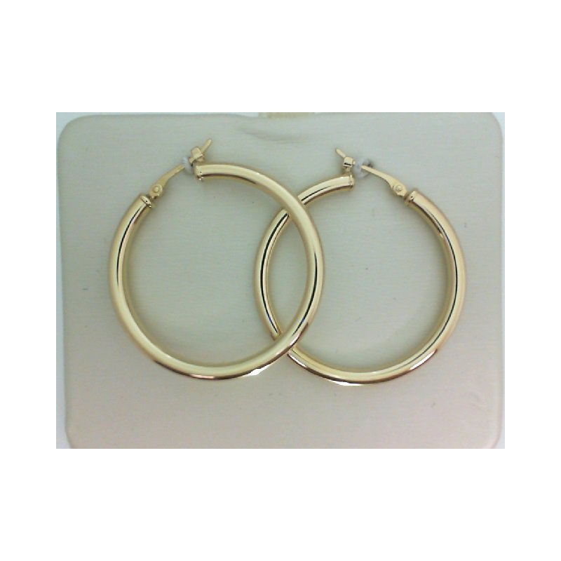 Yellow Gold Round Hoop Earring