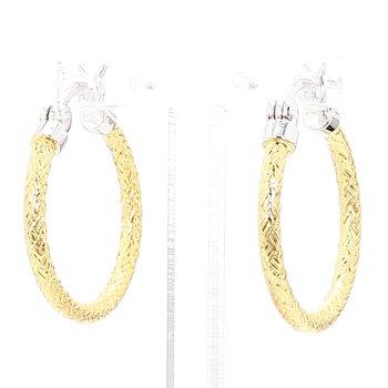 Sterling Silver 18K Yellow Gold Rhodium Plated Mesh Hoop Earrings 22.7 x 2mm