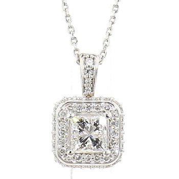 .74 Carat Diamond Halo Pendant