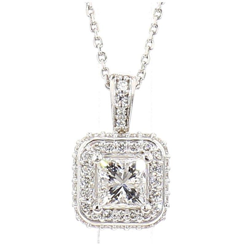 .74 Carat Diamond Halo Pendant
