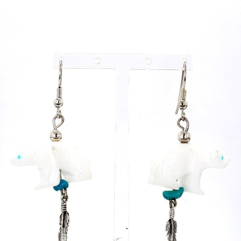 SS Bear Design & Turquoise Drop Earrings