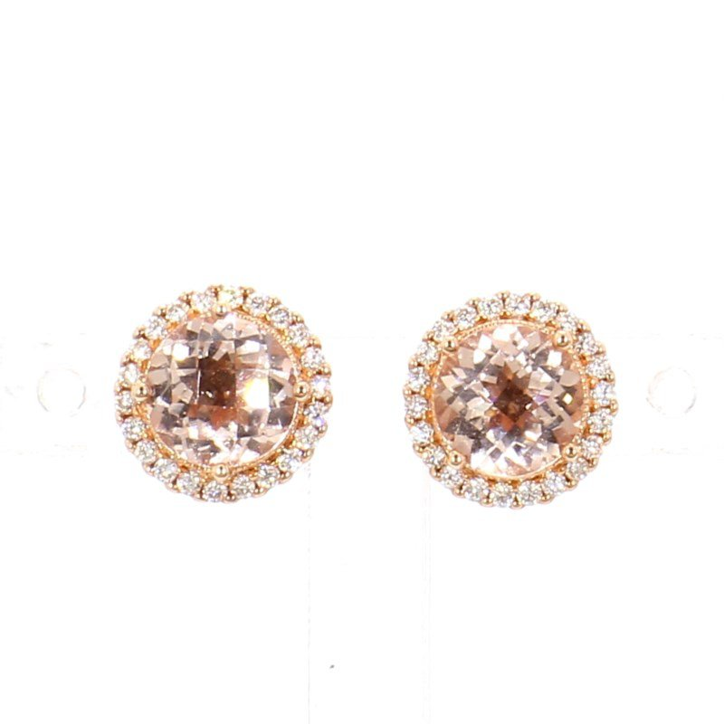 1 1/2ct Morganite & Diamond Earrings
