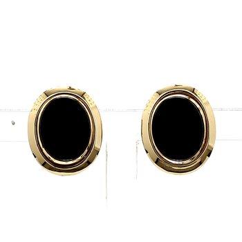 14KY Estate Oval Onyx Earrings 13.6mm x 11.24mm