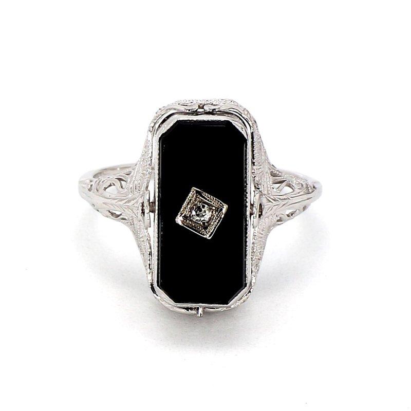 14KW Reversible Blue Topaz & Onyx Circa 1930's Ring