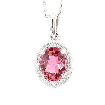 Tourmaline And Diamond Halo Pendant