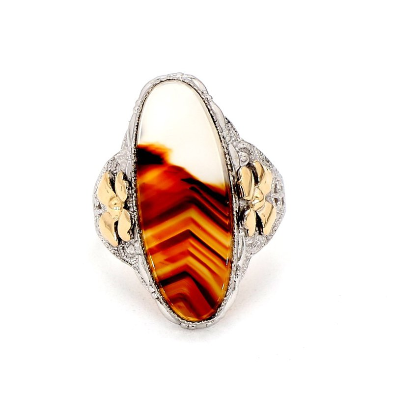 SS & Gold Filled Banded Agate Ring