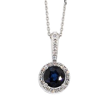 "3/4ct Blue Sapphire and Diamond Halo Pendant 18""x7.8mm"