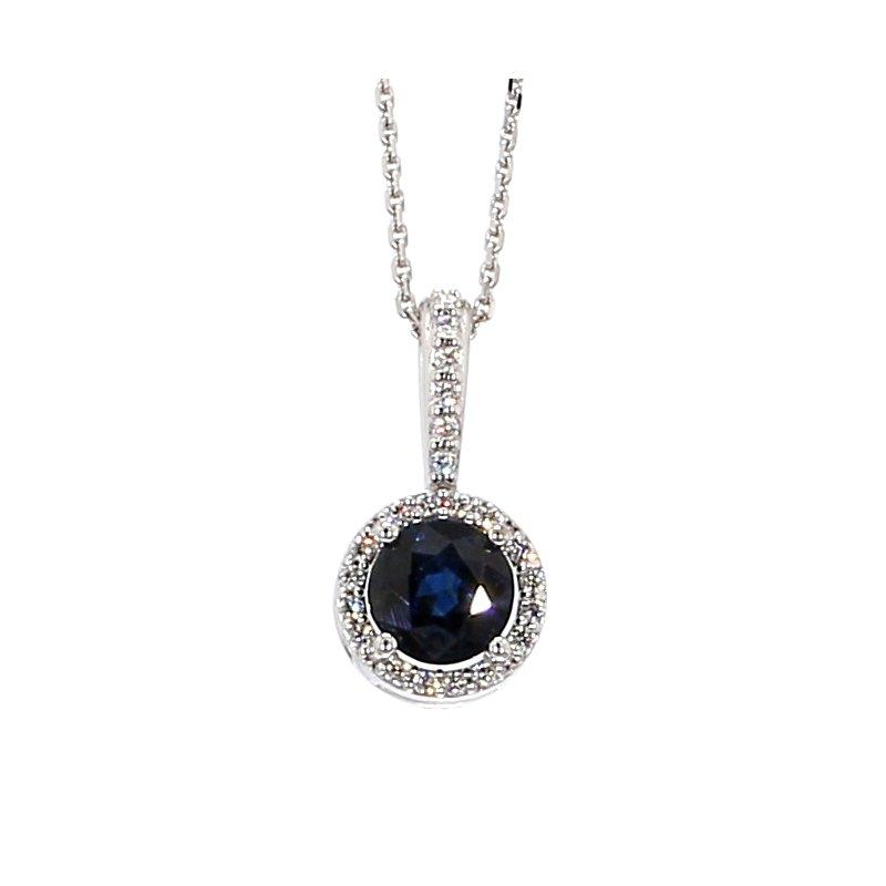 "3/4ct Blue Sapphire and Diamond Halo Pendant 18""x7.8mm"