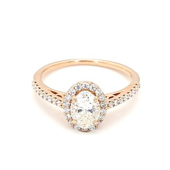 1.40 Carat Diamond Halo Engagement Ring