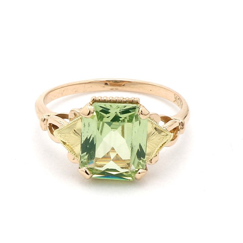 2ct Art Deco Green Spinel Floral Ring