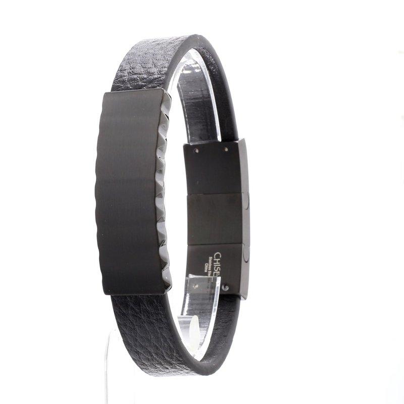 Stainless Steel Black Leather IP Bracelet