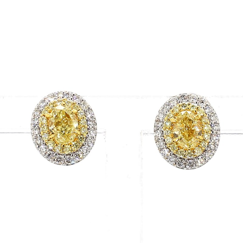 1 1/4ct Natural Yellow & White Diamond Halo Earrings