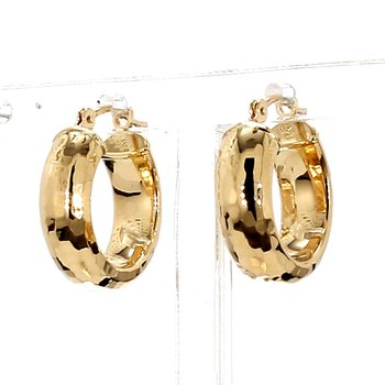 14KT Yellow Gold Huggie Hoop Hammered Design Earrings