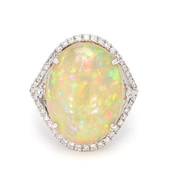 13.50 Carat Ethiopian Opal & Diamond Ring