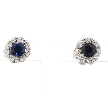 1/2ct Blue Sapphire & Diamond Halo Earrings