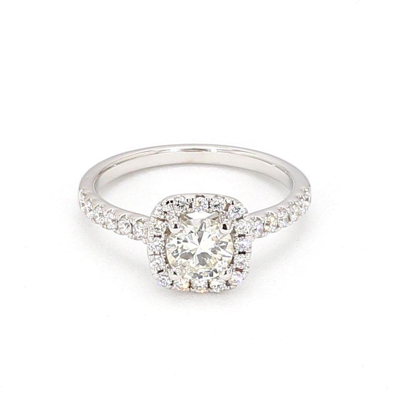 1.00 Carat Diamond Halo Engagement Ring