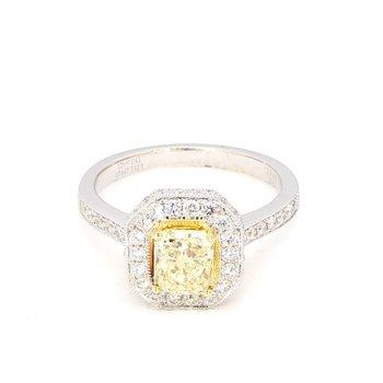 1.76 Carat Fancy Yellow Diamond Engagement Ring