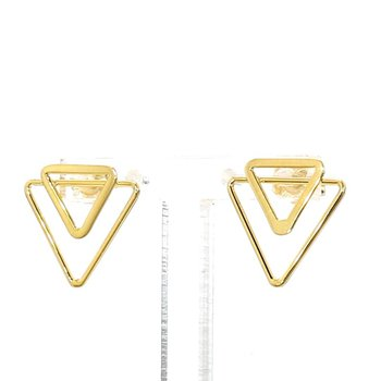 14 Karat Yellow Gold Double Triangle Earrings