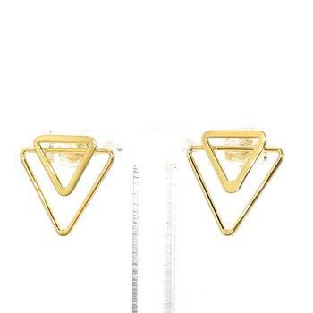 14 Karat Yellow Gold Double Triangle Earrings