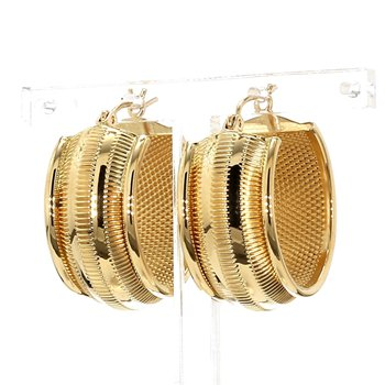 18KT Yellow Gold Estate 12mm Wide Hoop Earrings