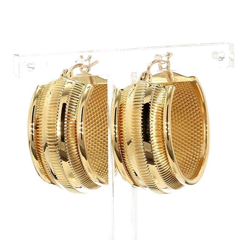 18KT Yellow Gold Estate 12mm Wide Hoop Earrings
