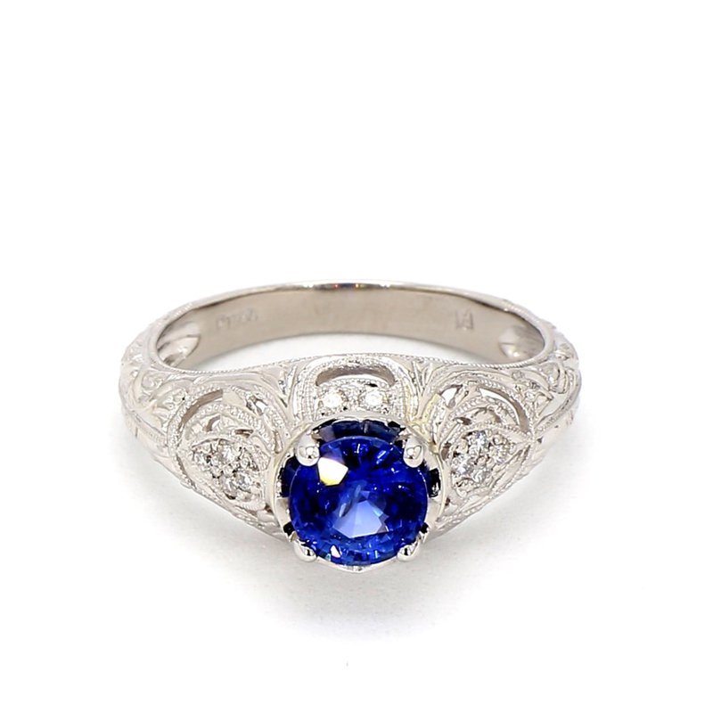 1 1/3ct Blue Sapphire & Diamond Ring Size 7.25