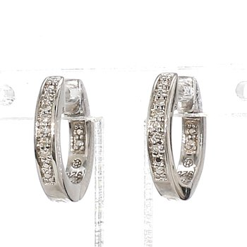 .03ct Diamond Sterling Silver Huggie Hoop Earrings 2.17mm X 12.62mm