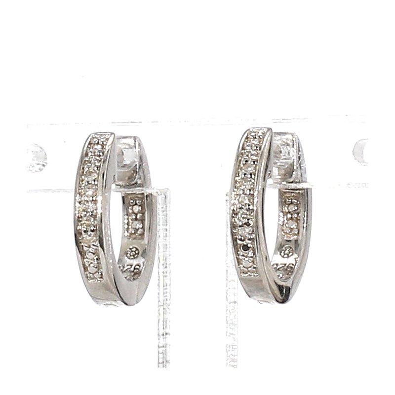 .03ct Diamond Sterling Silver Huggie Hoop Earrings 2.17mm X 12.62mm