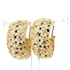 14KT Yellow Gold Estate Textured Lever Back Hoop Earrings