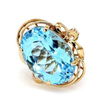 14KY Blue Topaz Ring