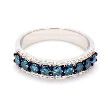 1.0ct Blue & White Diamond Eternity Ring