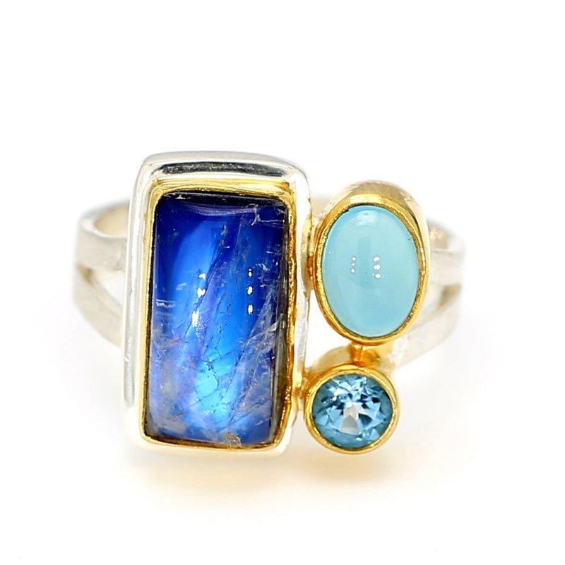 Sterling Silver & 22 Karat Yellow Gold Vermeil Multi Gemstone Ring