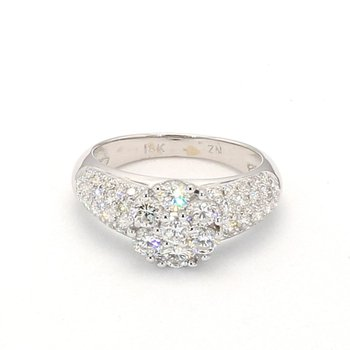1.50 Carat Diamond 18 Karat White Gold Pave Engagement Ring