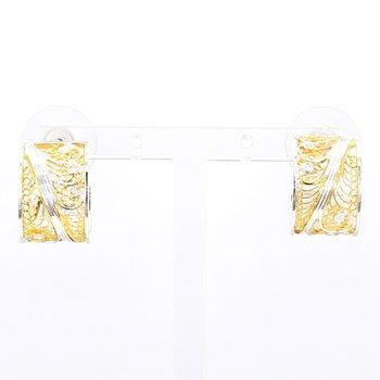 Silver & 22K 10mm Huggie Hoop Earrings