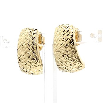 Estate 14 Karat Yellow Gold Textured Crosscut Earrings