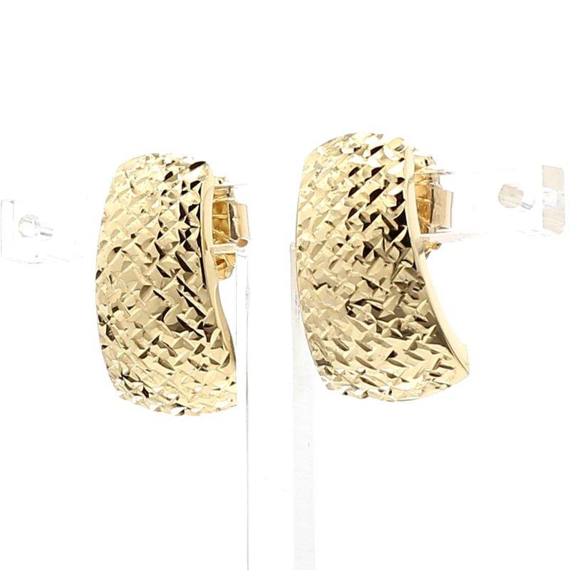 Estate 14 Karat Yellow Gold Textured Crosscut Earrings