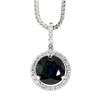 2.37 Carat Blue Sapphire And .15 Carat Diamond 14 Karat White Gold Halo Pendant