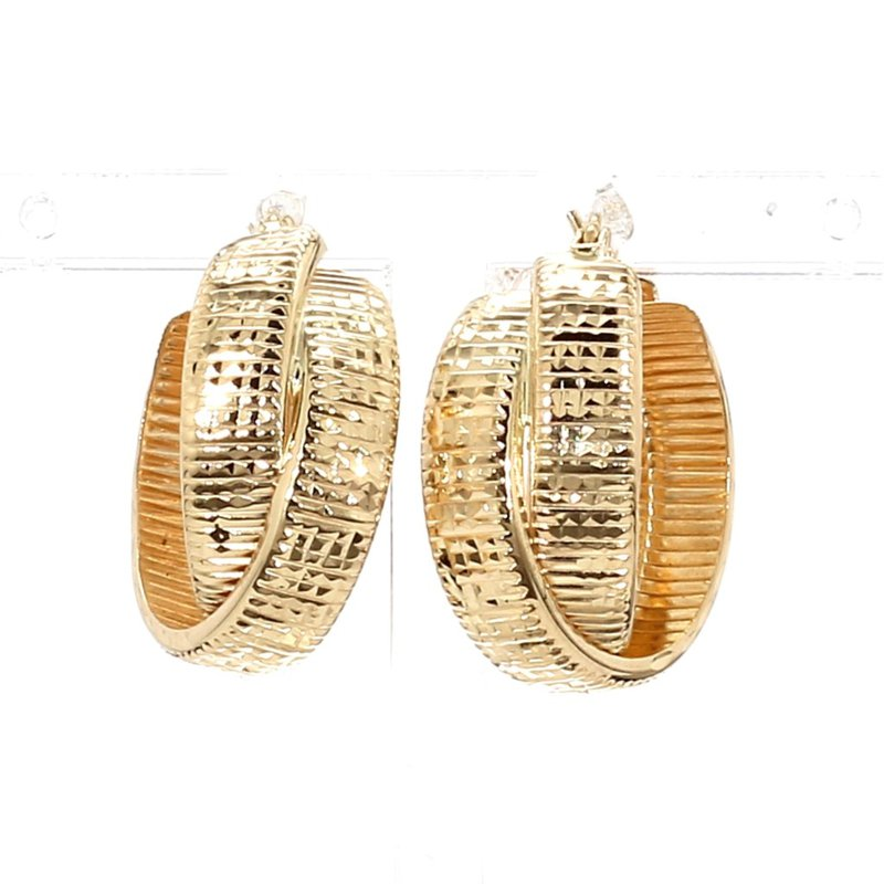 14KT Yellow Gold Infinity Inspired Crossover Hoop Earrings