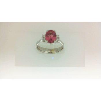 1 1/10ct Pink Tourmaline & Diamond Ring