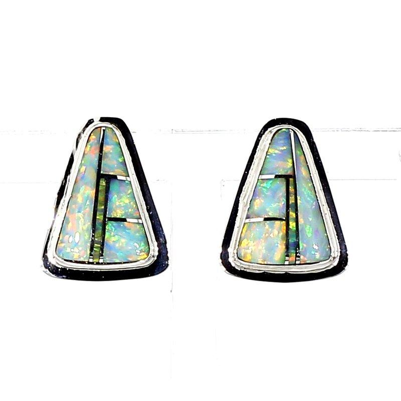 SS Triangle Shaped Opal Earrings