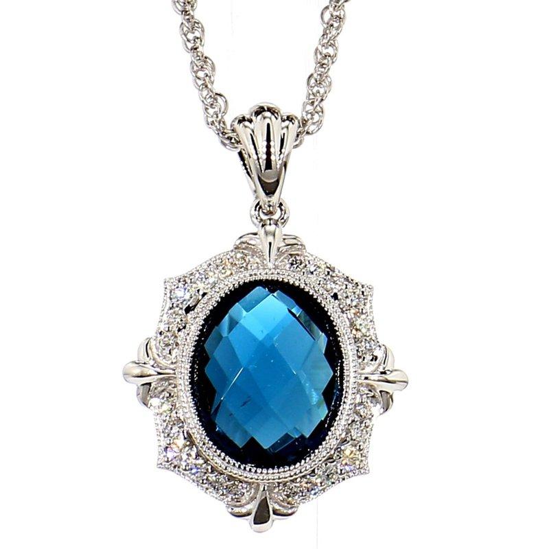 Vintage London Blue Topaz & Diamond Pendant
