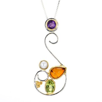 22k & Sterling Open Free Form Multi Gem Necklace