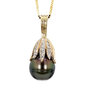 14KY 13-13.5MM Black Pearl & Diamond Pendant