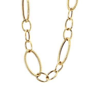 14KT Yellow Gold Estate Oval Link Necklace 18""