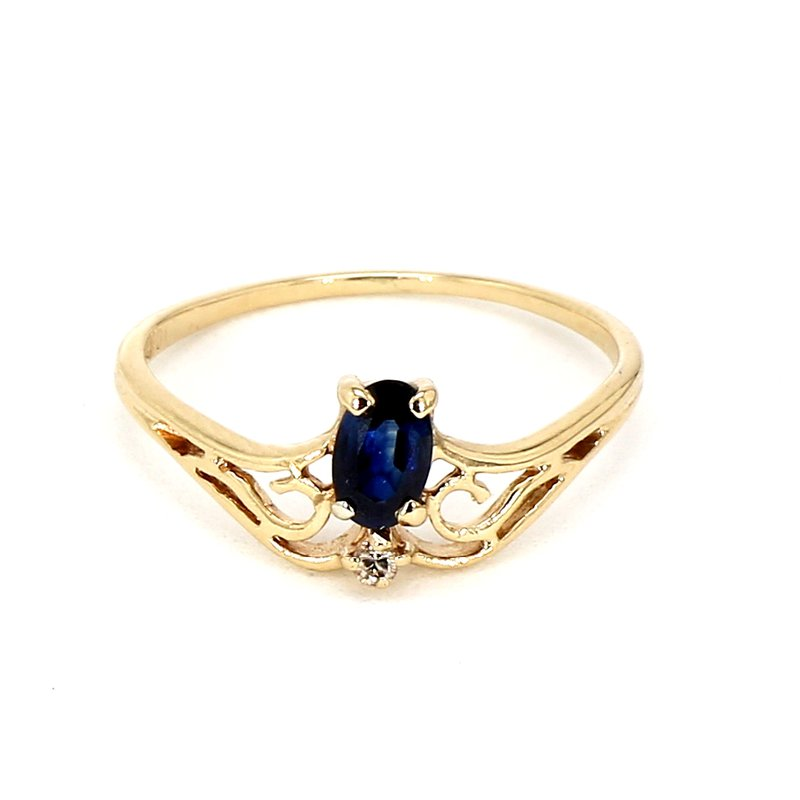 1/5ct Blue Sapphire & Diamond Ring