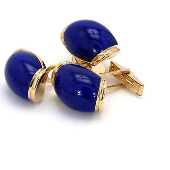 Estate 14 Karat Yellow Gold Lapis Lazuli Cufflinks and Button