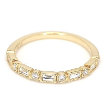 .28 Carat Diamond Wedding And Anniversary 14 Karat Yellow Gold Ring