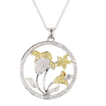 1.70 Carat Diamond Flower Design Pendant