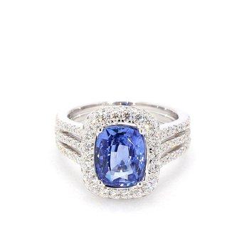 4.31 Sapphire And Diamond Halo Ring