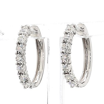 1/2ct Oval Diamond Hoop Earrings